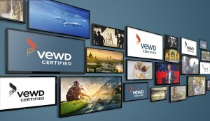 Image of TVs with alternating content and Vewd Certified logo