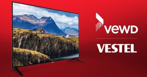 Image of TV and logos from Vewd and Vestel