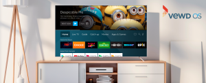 Image of Room with TV featuring Vewd OS for Android TV displayed