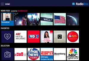 Screenshot of new Radioline appTV