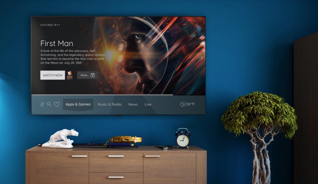 TV running Vewd OS in living room