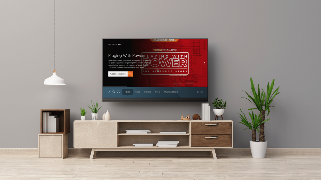 Living room with TV showing Vewd homescreen with Crackle app preview